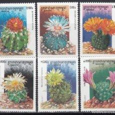 Sellos: CAMBOYA, 2001 YVERT Nº 1872 / 1877 /**/, FLORES. CACTUS. . Lote 157299022