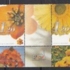 Sellos: ISRAEL, 2001 YVERT Nº 1550 / 1553, DISTINTOS TIPOS DE FLORES,. Lote 157803382