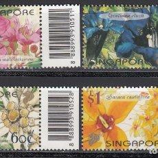 Sellos: SINGAPUR, 2001 YVERT Nº 1018 / 1021, FLORES.. Lote 157940914