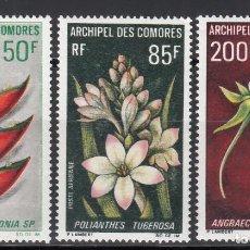 Sellos: ARCHIPIÉLAGO DE COMORES, 1969 YVERT Nº 26 / 28 /**/, FLORES. . Lote 158333442
