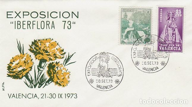 AÑO 1973, VALENCIA, IBERFLORA, SOBRE DE ALFIL, CLAVELES AMARILLOS (Sellos - Temáticas - Flora)