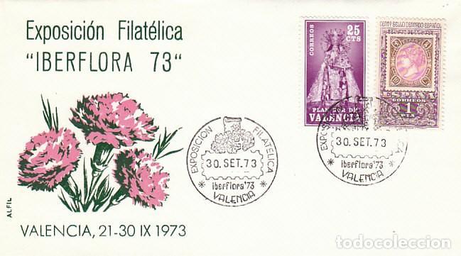 AÑO 1973, VALENCIA, IBERFLORA, SOBRE DE ALFIL, CLAVELES ROSAS (Sellos - Temáticas - Flora)