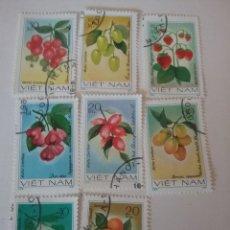 Sellos: SELLOS R. D. VIETNAM MTDOS/1981/FRUTAS/PLANTAS/FLORES/FLORA/NATURALEZA/ALIMENTOS/OLIVO/FRESA/PEPINO/. Lote 159769022