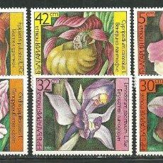 Sellos: BULGARIA 1986 IVERT 2987/92 *** FLORES DIVERSAS - FLORA - ORQUIDEAS. Lote 162251690