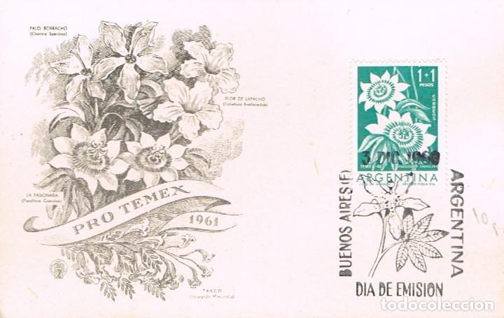 ARGENTINA 800, FLOR DE LA PASION (PASIONARIA), PRIMER DIA DE 3-12-1960 (Sellos - Temáticas - Flora)