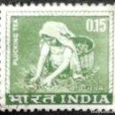 Sellos: 1963. FLORA. INDIA. 193. RECOLECCIÓN DE LA FLOR DEL TÉ. SERIE CORTA. USADO.. Lote 168104520