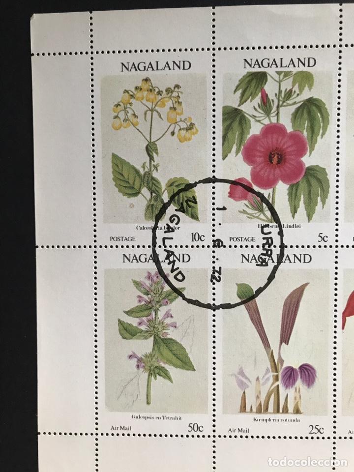 Sellos: Hoja bloque de 8 sellos de flores Nagaland con matasellos de favor - Foto 2 - 170549785