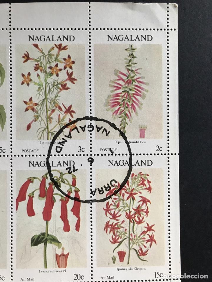 Sellos: Hoja bloque de 8 sellos de flores Nagaland con matasellos de favor - Foto 3 - 170549785
