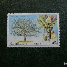 Sellos: FLORA-ARBOLES-ST.LUCIA-1984-45C.**(MNH). Lote 175488168