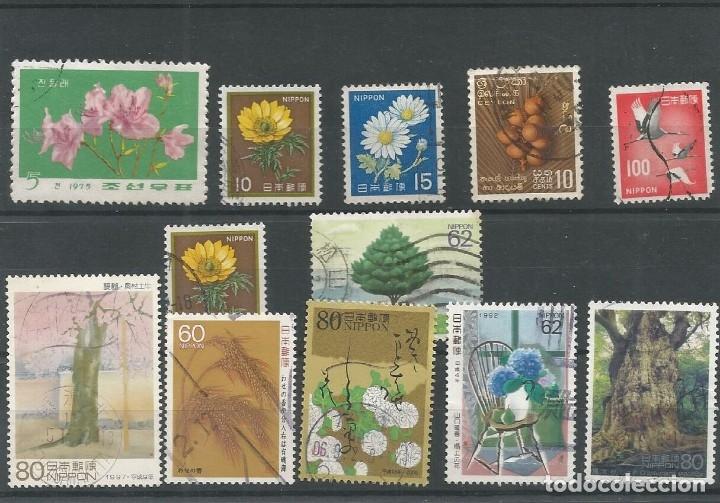 12 SELLOS FLORA JAPON (Sellos - Temáticas - Flora)