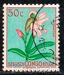 CONGO BELGA Nº 322, EURYCHONE GALEANDRAE, USADO (Sellos - Temáticas - Flora)