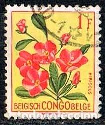 CONGO BELGA Nº 325, HIBISCUS RHODANTHUS, USADO (Sellos - Temáticas - Flora)