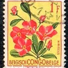 Sellos: CONGO BELGA Nº 325, HIBISCUS RHODANTHUS, USADO. Lote 182778043