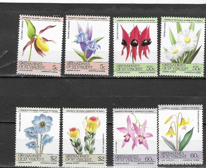 GRANADA DE SAN VICENTE Nº 392 AL 399 (**) (Sellos - Temáticas - Flora)