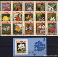 Sellos: GIROEXLIBRIS.- CUBA.- 1983 FLORA FLOWERS BONITA SERIE COMPLETA DE SELLOS CON HOJA BLOQUE DE FLORES. Lote 183265178