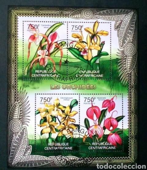 FLORA ORQUÍDEAS HOJA BLOQUE DE SELLOS USADOS DE REPÚBLICA CENTROAFRICANA (Sellos - Temáticas - Flora)