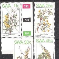 Sellos: SUDOESTE AFRICANO (SWA) Nº 519/522** FLORA. ACACIAS. SERIE COMPLETA. Lote 195414663