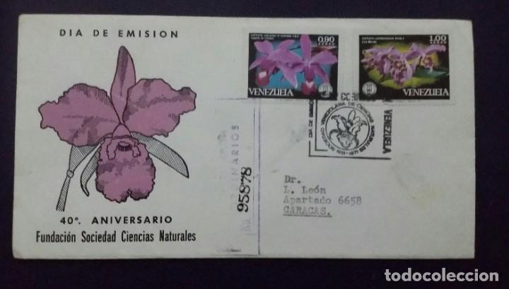 SOBRE Y TARJETA CON SELLOS 1971 1A. EMISIÓN. 40 ANIV. FUNDACIÓN DE CIENCIAS NATURALES.VENEZUELA (Sellos - Temáticas - Flora)