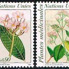 Sellos: NACIONES UNIDAS, OFICINA DE GINEBRA Nº 192/3, PLANTAS MEDICINALES, NUEVO *** (SERIE COMPLETA). Lote 199133940