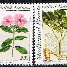 Sellos: NACIONES UNIDAS, NUEVA YORK Nº 600/1, VINCA DE MADAGASCAR Y GINSENG (PLANTA MEDICINAL), NUEVO *** SE. Lote 199134236