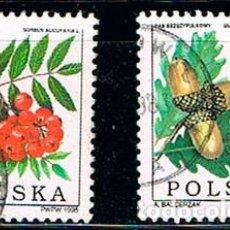 Sellos: POLONIA Nº 3555/6, FRUTOS: DEL ROBLE ALBAR Y DEL AZAROLLO, USADO (SERIE COMPLETA). Lote 199202461