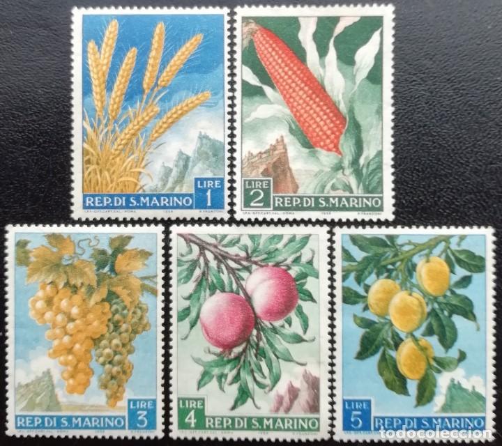 1958. SAN MARINO. 449 / 453. PRODUCCIÓN AGRÍCOLA. PLANTAS DIVERSAS. NUEVO. (Sellos - Temáticas - Flora)