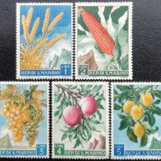 Sellos: 1958. SAN MARINO. 449 / 453. PRODUCCIÓN AGRÍCOLA. PLANTAS DIVERSAS. NUEVO.. Lote 208076765