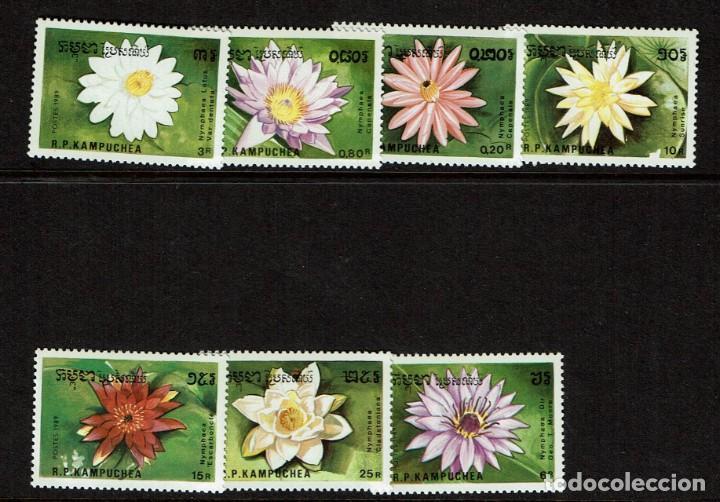 Sellos: SERIE FLORES DE REPUBLICA POPULAR KAMPUCHEA NUEVOS Flora. 1989 HOJITA Y 7 VALORES - Foto 2 - 208369221