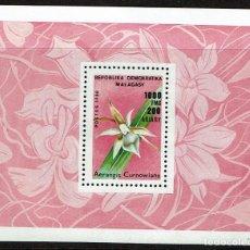 Sellos: HOJITA Y SERIE FLORES REPUBLICA MALAGASY FLORA. 1988 NUEVOS. Lote 208407033