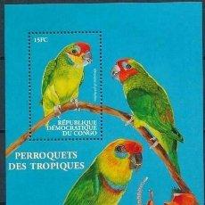 Sellos: REP. DEMOCRATICA DEL CONGO 2000 HB IVERT 66P *** FAUNA - LOROS. Lote 208571485