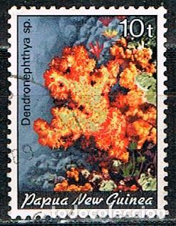 PAPUA NUEVA GUINEA Nº 452, CLAVEL CORAL, USADO (Sellos - Temáticas - Flora)