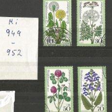 Sellos: ALEMANIA - FEDERAL - 1977 - PLANTAS DE SALUD - UNA SERIE DE 4 SELLOS COMPLETO - USADOS - MI 949 - 52. Lote 213274573
