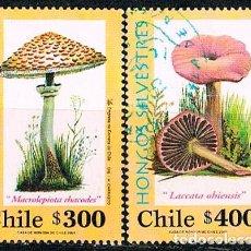 Sellos: CHILE Nº 1997 /8, HONGOS: APAGADOR Y LACARIA, USADO (SERIE COMPLETA). Lote 214501091