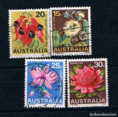 Sellos: AUSTRALIA FLORES -LOTE DE 4 SELLOS USADOS DIFERENTES. Lote 214725220