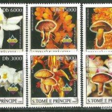 Sellos: SANTO TOME & PRINCIPE 2003 IVERT 1464/9 *** FLORA - ORQUÍDEAS Y CHAMPIÑONES. Lote 214893481
