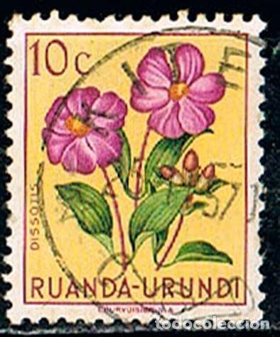 RUANDA URUNDI Nº 137 HIBISCO, USADO (Sellos - Temáticas - Flora)