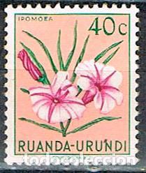 RUANDA URUNDI Nº 133, IPOMOEA, NUEVO CON SEÑAL DE CHARNELA (Sellos - Temáticas - Flora)
