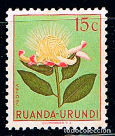 RUANDA URUNDI Nº 130, PROTEA , NUEVO CON SEÑAL DE CHRNELA (Sellos - Temáticas - Flora)