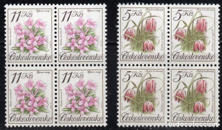 CHECHOSLOVAQUIA /1991/MNH/SC# 2840-1/ FLORES / NATURALEZA / SET INCOMPLETO / BLOQUE DE 4 (Sellos - Temáticas - Flora)