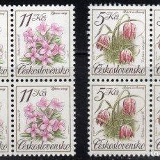 Sellos: CHECHOSLOVAQUIA /1991/MNH/SC# 2840-1/ FLORES / NATURALEZA / SET INCOMPLETO / BLOQUE DE 4. Lote 217459136