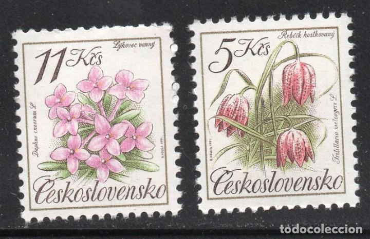CHECHOSLOVAQUIA /1991/MNH/SC# 2840-1/ FLORES / NATURALEZA / SET INCOMPLETO (Sellos - Temáticas - Flora)