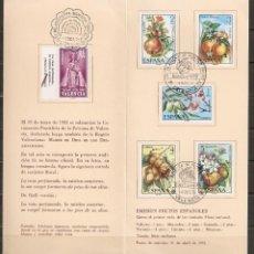 Sellos: ESPAÑA. 1975. DIPTICO IBERFLORA 75. VALENCIA .FLORA. FLORES. Lote 218599395