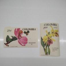Sellos: 2 SELLOS CON FLORES COLOMBIA. Lote 221633458