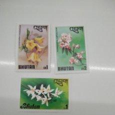 Sellos: 3 SELLOS CON FLORES BHUTAN. Lote 221635310