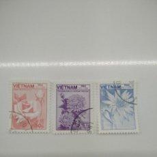 Sellos: 3 SELLOS CON FLORES VIETNAM. Lote 221635388
