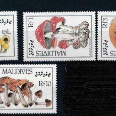 Sellos: MALDIVAS 1986 IVERT 1106/9 *** FLORA - SETAS - CHAMPIÑONES (I). Lote 224076308