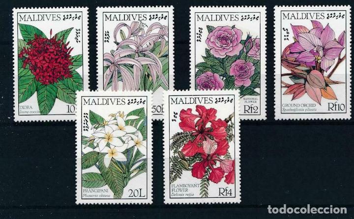 MALDIVAS 1986/87 IVERT 1110/3 Y 118/9 *** FLORES - FLORA INDIGINA (I Y II) (Sellos - Temáticas - Flora)