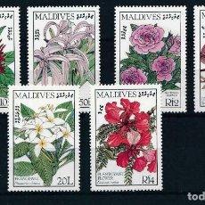 Sellos: MALDIVAS 1986/87 IVERT 1110/3 Y 118/9 *** FLORES - FLORA INDIGINA (I Y II). Lote 224079788