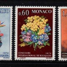 Sellos: MONACO 948/50** - AÑO 1973 - FLORA - FLORES - CONCURSO INTERNACIONAL DE RAMOS. Lote 228368635
