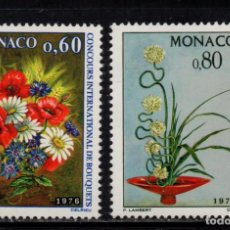 Sellos: MONACO 1035/36** - AÑO 1975 - FLORA - FLORES - CONCURSO INTERNACIONAL DE RAMOS. Lote 228368665